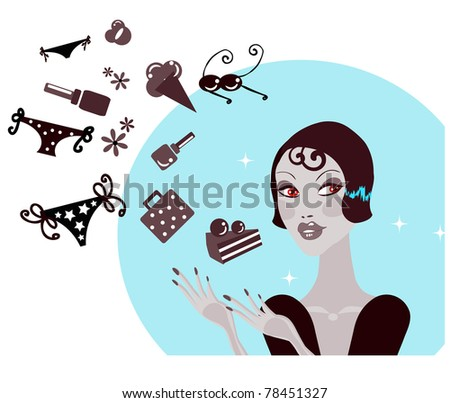 Shopping Woman Making Decision What To Buy /Pretty woman  dreaming / Lifestyle vector Illustration