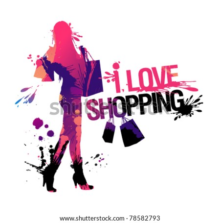 Shopping woman silhouette. I love shopping, vector illustration with splashes.