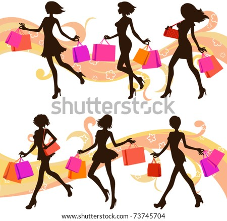 Shopping woman silhouettes - stock vector