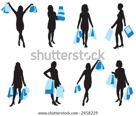Shopping woman - vector - stock vector