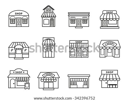 shops and stores building icons set. Line Style stock vector. - stock vector