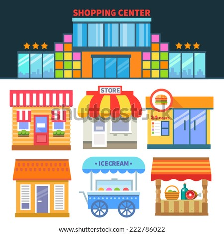 Shops and trade. Shopping Center. Different building of shops and cafes. Vector flat icons and illustrations - stock vector