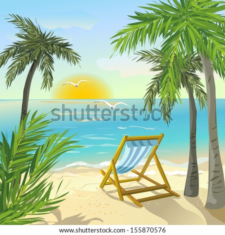 shore with palm trees and sunrise. vector illustration - stock vector