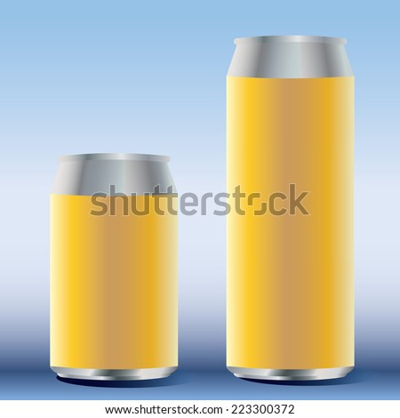 Short and long vector soda cans blue shade - stock vector