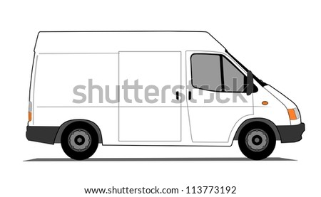 Short delivery van - stock vector