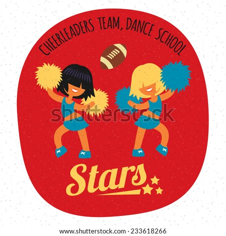 Short hairstyle, smiling beautiful sporty teenager cheerleader girls team, dancing with poms. Without outline cartoon character, simplicity flat style vector illustration.  - stock vector