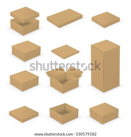Short Small Open and Closed Boxes template collection. Brown packages on white background, vector illustration - stock vector
