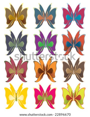 Short wing butterflies - vector