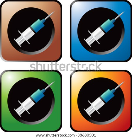 shot needle on multicolored web buttons - stock vector