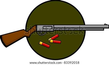 shotgun and shells - stock vector