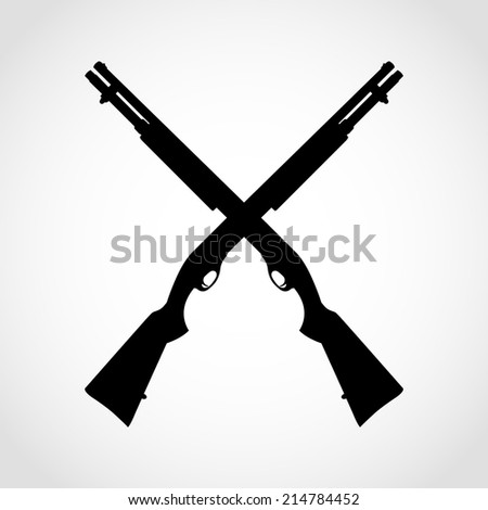 Shotgun Silhouette Icon Isolated on White Background - stock vector