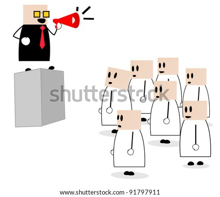 shouting with megaphone in front of its members in providing briefings or announcements - stock vector