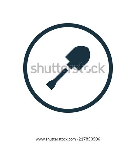 shovel circle background icon, isolated on white background  - stock vector