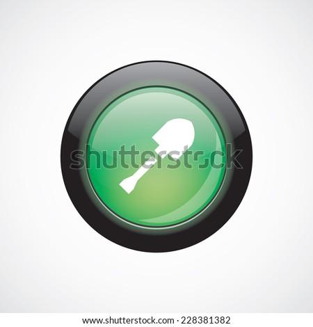 shovel glass sign icon green shiny button. ui website button   - stock vector