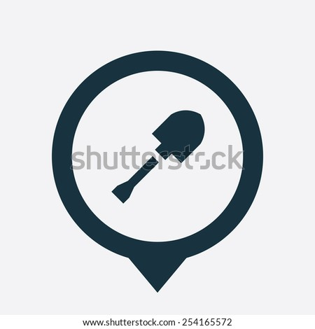 shovel icon map pin on white background  - stock vector