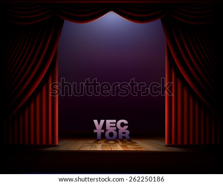 Show stage with red curtains and wooden floor. Vector template - stock vector
