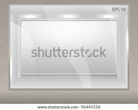 Showcase with empty banner for your advertisement on the street wall - stock vector