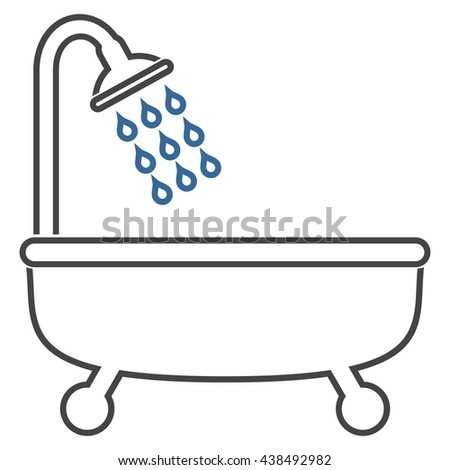 Shower Bath vector icon. Style is outline bicolor flat icon symbol, cobalt and gray colors, white background.