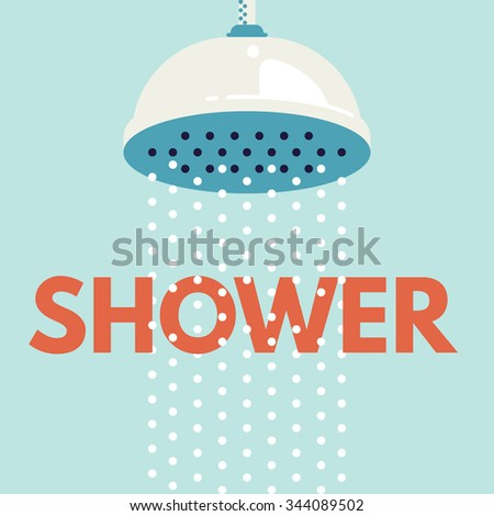 Shower head in bathroom with water drops flowing. Vector illustration. Flat design style - stock vector