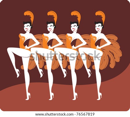 showgirls - stock vector