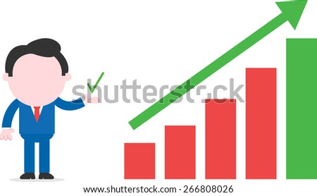 Showing check faceless cartoon businessman standing beside bar chart with arrow moving up - stock vector