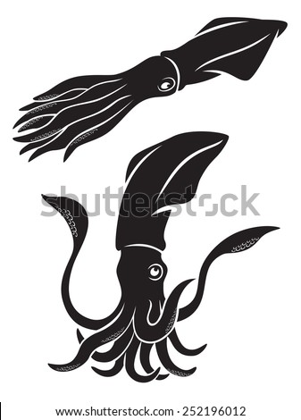 Shown squid with tentacles - stock vector