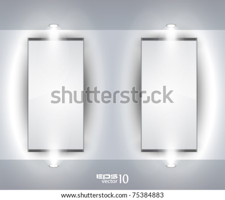 Showroom Panel for product with LED spotlights and place for text or image - stock vector