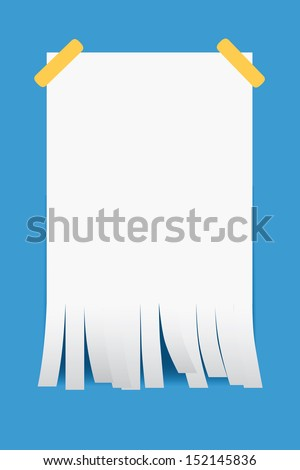 Shredded paper on blue background  - stock vector