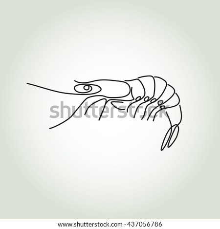 Shrimp in minimal line style vector - stock vector