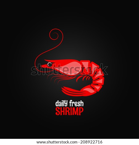 shrimp seafood menu design background - stock vector