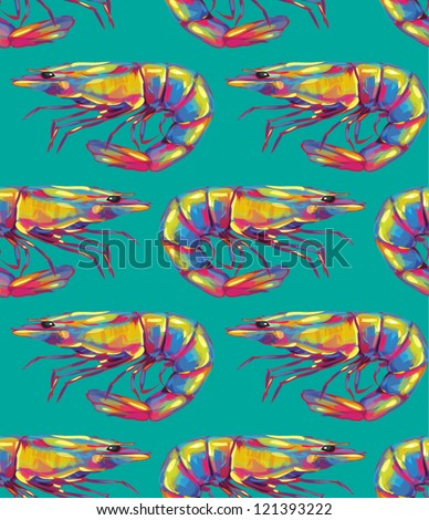 Shrimp Seamless pattern - stock vector