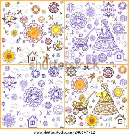 Shrovetide wallpapers with abstract pattern - stock vector