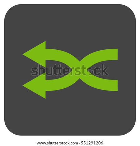 Shuffle Arrows Left vector icon. Image style is a flat icon symbol inside a rounded square button, light green and gray colors.