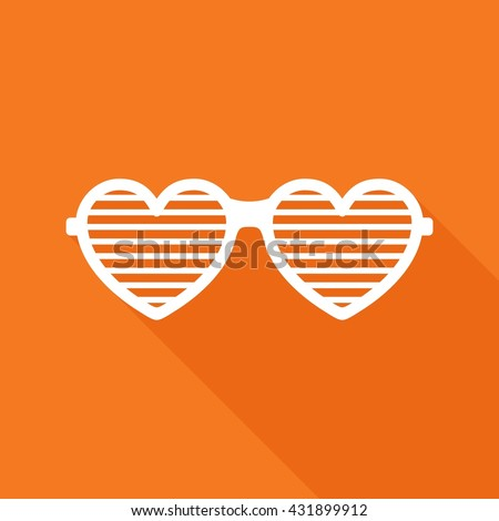 Shutter glasses heart. Concept of brindled or latticed sunglasses, fashionable accessory, summer youth glasses. Shutter shades sun glasses on orange background with shadow