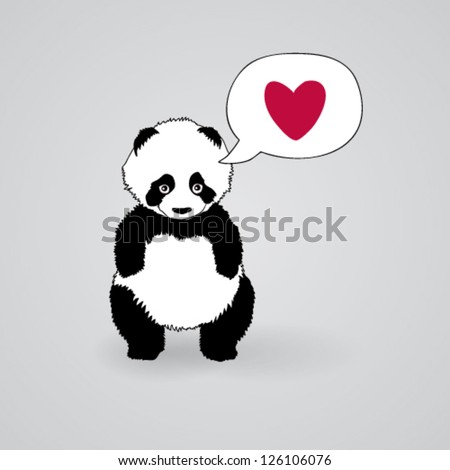 Shy Panda loves you / Romantic square card - stock vector