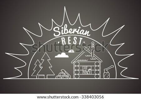 Siberian rest. Vector illustration. - stock vector
