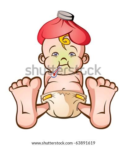 Sick Baby Cartoon Character - stock vector