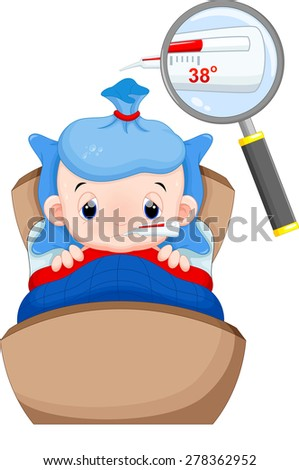 Sick baby in bed with symptoms of fever and thermometer in his mouth - stock vector