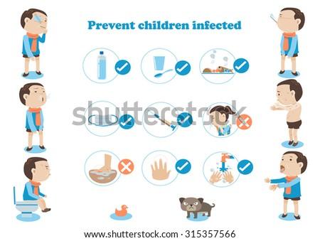 Sick boy and prevent children infected Infographic.vector illustration cartoon - stock vector