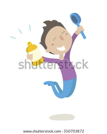 Sick boy feels better after taking medication.  Vector illustration. Isolated on transparent background - stock vector