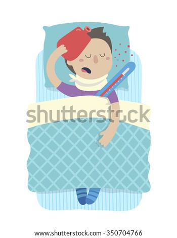 Sick boy in bed with high fever.  Vector illustration. Isolated on transparent background - stock vector