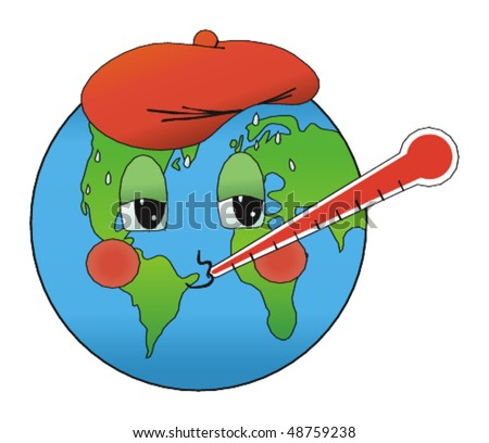 Sick earth due to global warming vector illustration - stock vector