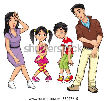 Sick family. Vector cartoon and isolated characters. - stock vector