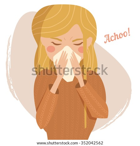 Sick girl. Cold. Sneeze. Vector isolated illustration. Cartoon character. - stock vector