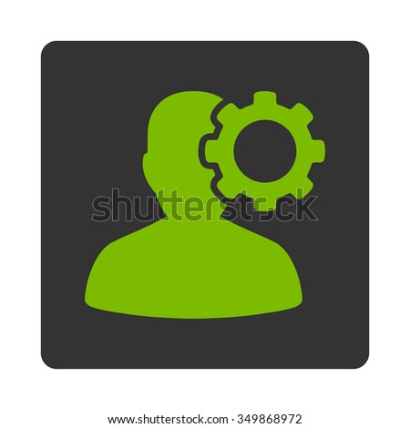 Sick Head vector icon. Style is flat rounded square button, eco green and gray colors, white background. - stock vector