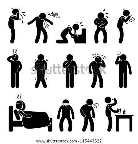 Sick ill Fever Flu Cold Sneeze Cough Vomit Disease Stick Figure Pictogram Icon - stock vector