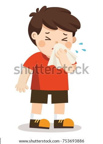 Sick Kid.  A boy with handkerchief in hand. Season allergy.