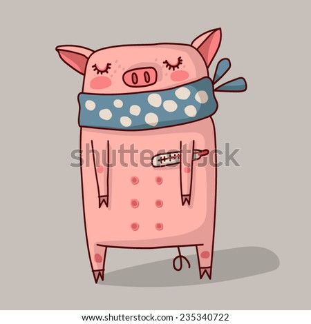 Sick pig in a scarf and with a thermometer. - stock vector