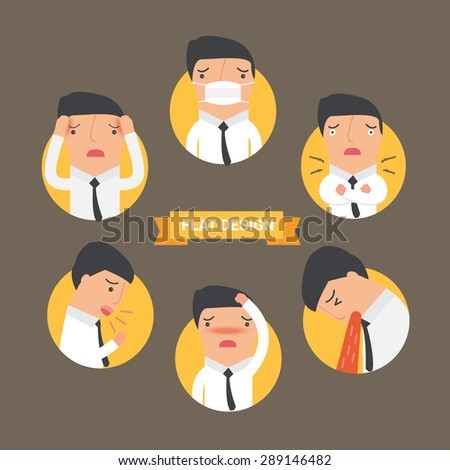 Sick  symptoms cold man flat icon, vector illustration - stock vector