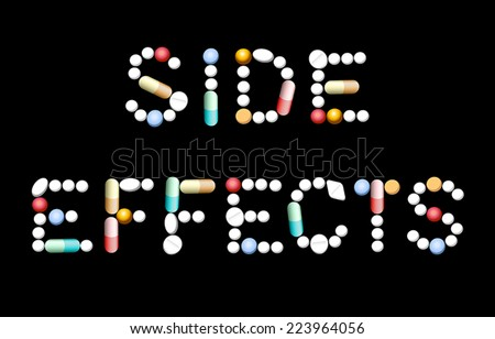 SIDE EFFECTS composed with different pills, tablets and capsules. Isolated vector illustration on black background. - stock vector